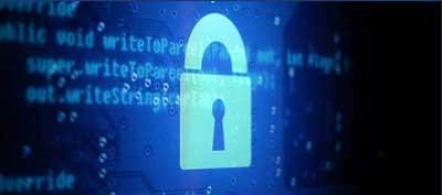 digital security lock over computer code