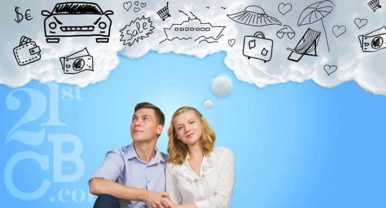 couple sitting together with thought bubble showing things they want and can get with personal lending services